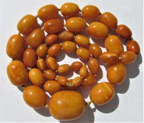 Antique Natural Butterscotch Egg Yolk Baltic Amber Beads Necklace 63.4g.