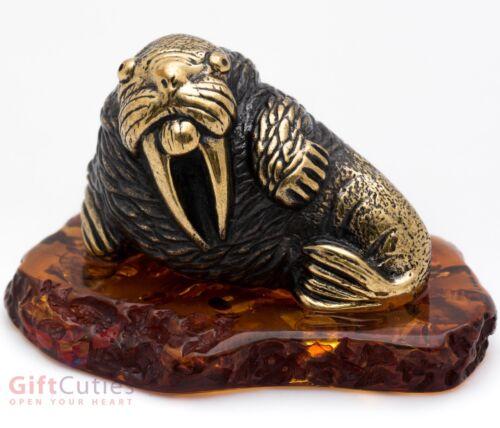 Solid Brass Amber Walrus Figurine IronWork