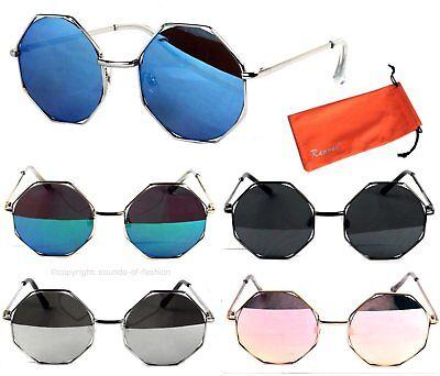 Festival Sonnenbrille Nickelbrille Eckige Gläser Hippie Flachglas Verspiegelt B8