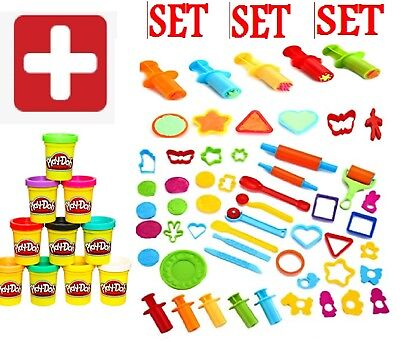 Play-Doh Modeling Compound 10-Pack + 44 Pieces Clay Dough Tools for Kids SET NEW