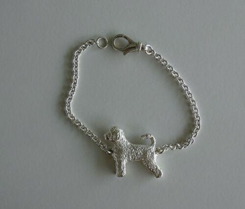 Large Sterling Silver Portuguese Water Dog Standing Study Bracelet