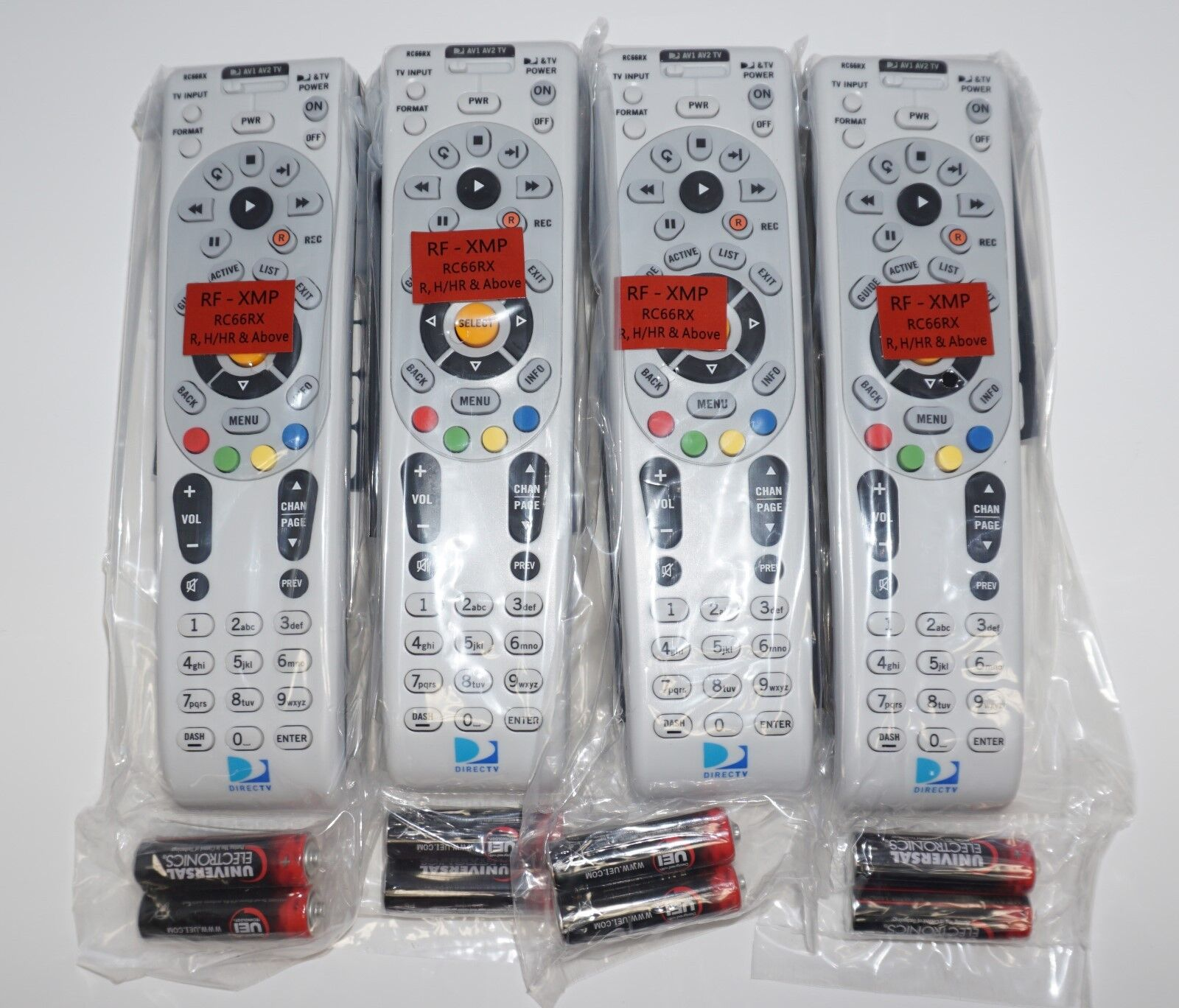 Lot Of 4  DIRECTV RC66RX RF Remote Controls W/Batteries DTV