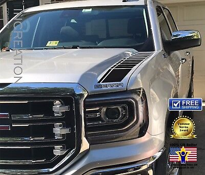 Gmc Truck Vinyl (2 Truck vinyl decal racing sticker Stripes GMC Sierra hood factory style)