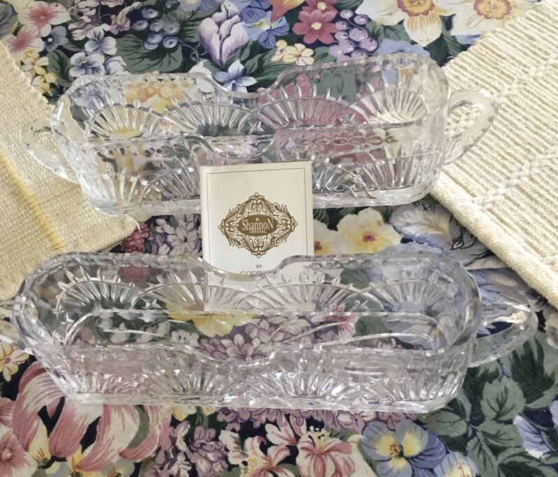 Two Shannon 24% Lead Crystal Large Cutlery Flatware Holders  Caddy In Box