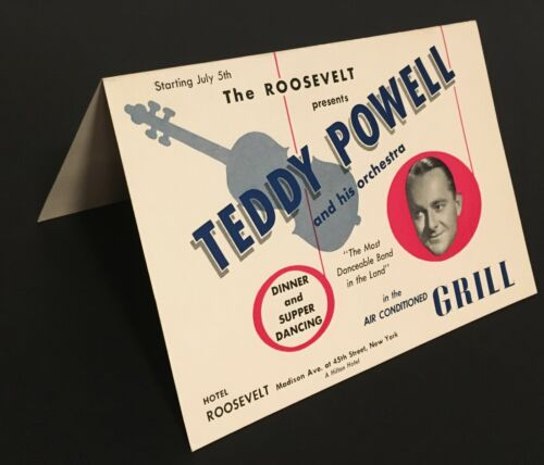 1940s TEDDY POWELL ORCHESTRA @ ROOSEVELT HOTEL TABLE TENT SIGN - NEW YORK CITY
