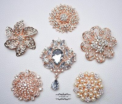 6 Large Rose Gold Brooch Lot Rhinestone Crystal Pearl Pin Wedding Bouquet DIY