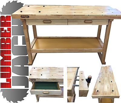 Lumberjack Heavy Duty Solid Wooden Woodworking Work Bench New UK 2 Drawers Vice