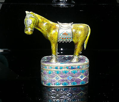 Chinese Silver Horse -  Chinese Gilt Silver & Enamel Figure of Horse with Box late 1930s