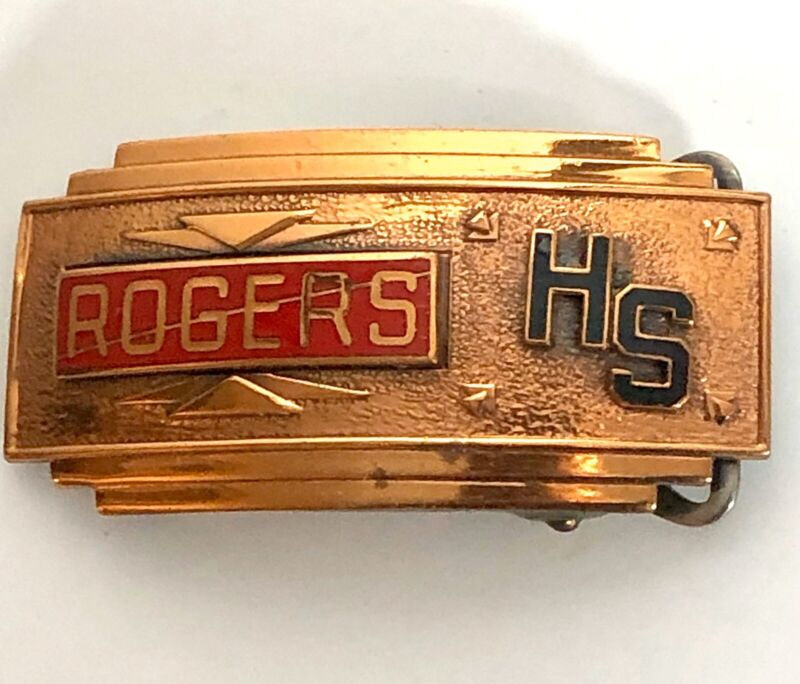 Vintage Rogers High School Deco Style Enamel Belt Buckle The Kinney Co.