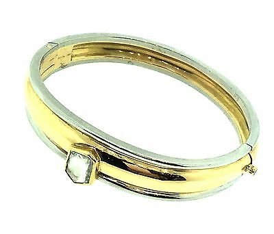 - Bangle Bracelet with Mirror Cut Diamond in Platinum/18k Yellow Gold - HM1139BE