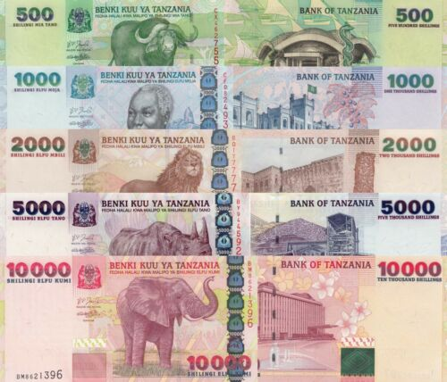 Tanzania 5 Note Set: 500-10000 Shillings (ND/2003) - p35,p36b,p37a,p38,p39 UNC