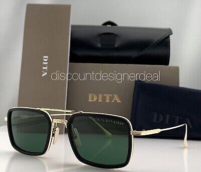 DITA FLIGHT EIGHT Rect Sunglasses Gold Black Frame Green Lens DTS134-53-02 (Dita Flight)