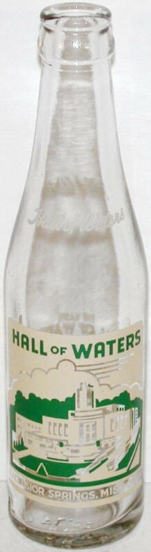 Vintage soda pop bottle HALL OF WATERS cream and green 7oz Excelsior Springs MO