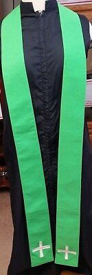 CLERGY STOLE LITURGICAL VESTMENT SPRING GREEN SATIN LINED