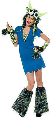 Yeti Blue Monster Sexy Adult Ladies Costume Dress - Blue Yeti Kostüm