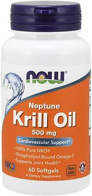 Now Foods Neptune KRILL OIL 500 mg, 60 Softgels Omega 3 Fish Oil Exp 10/21