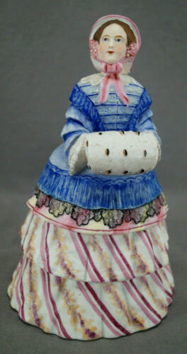 Jean Gille Paris Hand Painted Victorian Lady Humidor Tobacco Box Jar C.1845-50s