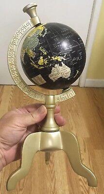 Government of India 2016 Art Deco Small Desk Globe Atlas Black Ocean Decorative