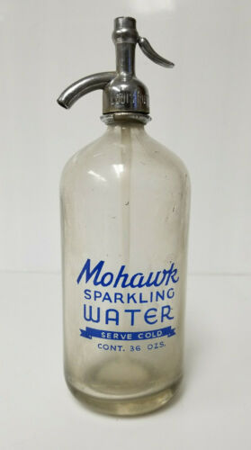 Vintage Seltzer Bottle Mohawk Sparkling Water Indian SYFO