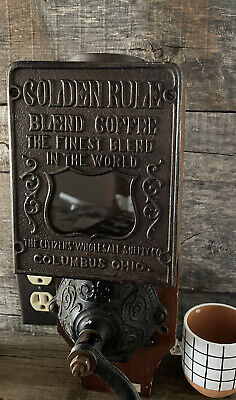 Antique Coffee Grinder Wood Cast Iron Wall Mount Golden Rule Columbus Ohio