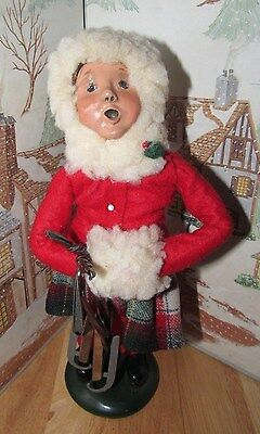 BYERS CHOICE CAROLER Girl with Ice Skates & Hand Muff 1988                *