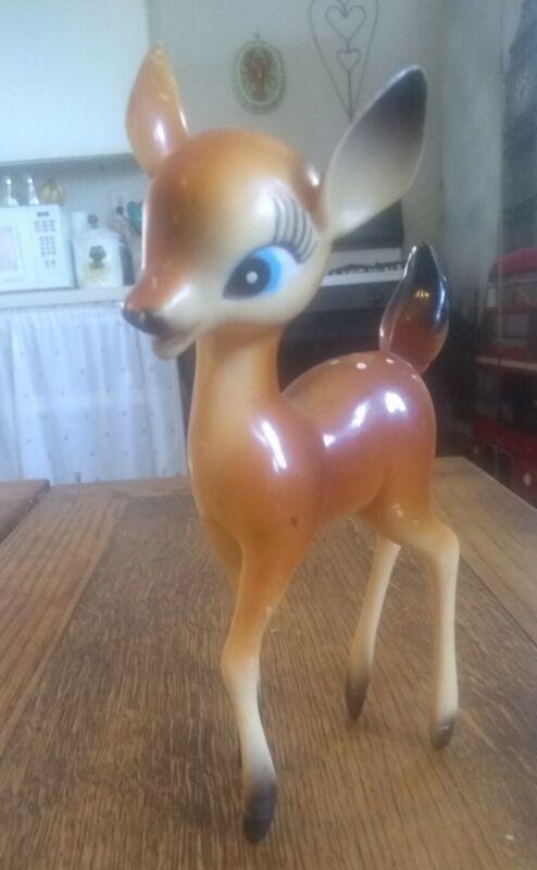 "Vintage Big Eyed Bambi Deer Fawn Hong Kong hard plastic figure 6"" 1960's"