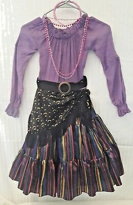 Girl's Purple Gypsy Dress Esmerelda Fortune Teller RENAISSANCE Dress Up COSTUME-