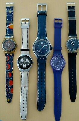 Vtg Unisex Swatch Watch Lot of 5, Features SRG100 Planetarium & Irony Chrono!