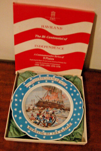Haviland Limoges Collector Plate Burning of the Gaspee 1972 with Box