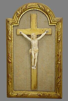 French Antique Hand Carved Crucifix Wall Cross Gilded Wood Frame 19th.C