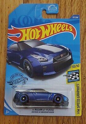 2020 Hot Wheels 50th '17 NISSAN GT-R (R35) Super Treasure Hunt blue HTF NEW!!