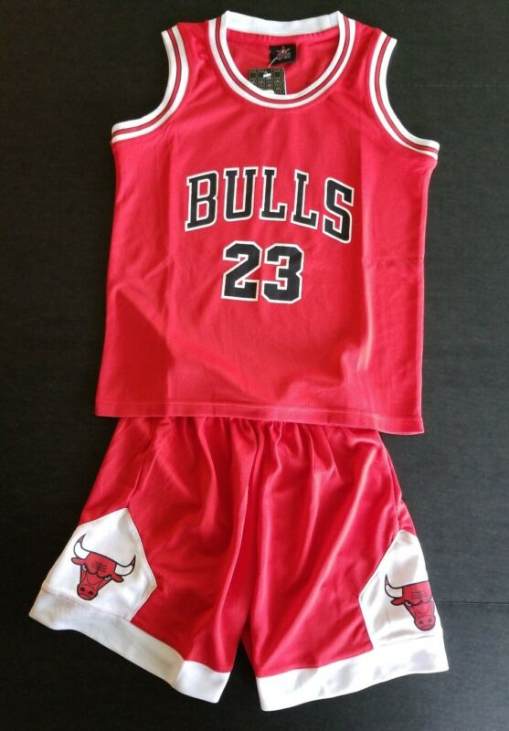 Michael Jordan 23 Chicago Bulls Kids Basketball Jersey Shorts Set- Red