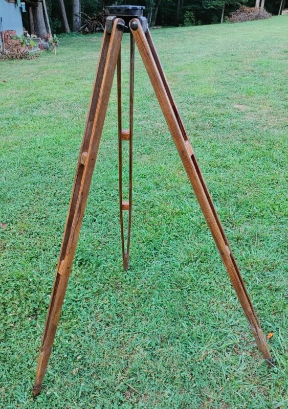 Vintage Keuffel & Esser K & E Wooden Surveyor Tripod - Made in USA