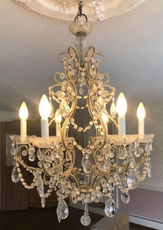 Antique Italian French Crystal Macaroni Beaded Chandelier 6 Light