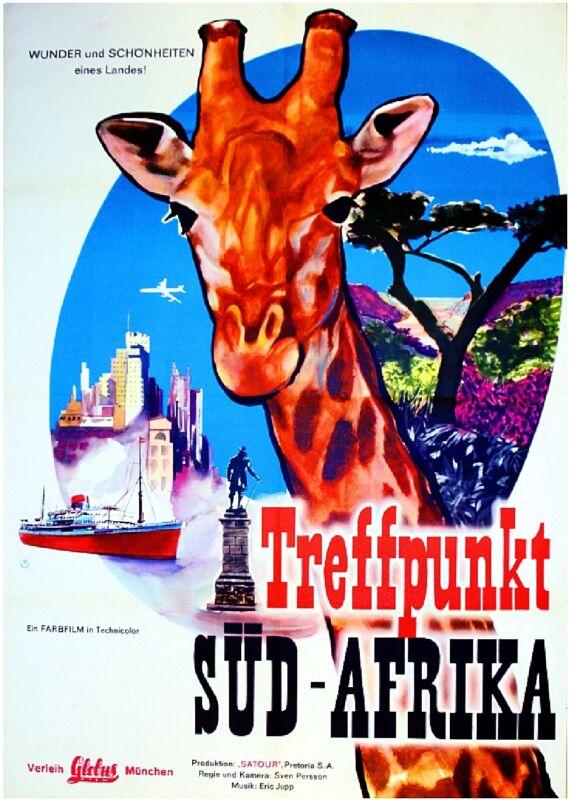 South Africa Treffpunkt Sud Afrika Vintage Travel Advertisement Art Poster