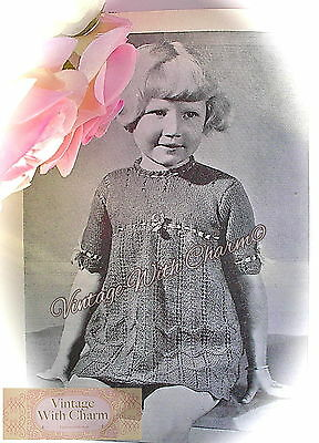Free Knitting Pattern Stitches (Vintage 40s Knitting Pattern Girls Sweetly Stitched Ribbon Thread Dress FREE P&P )