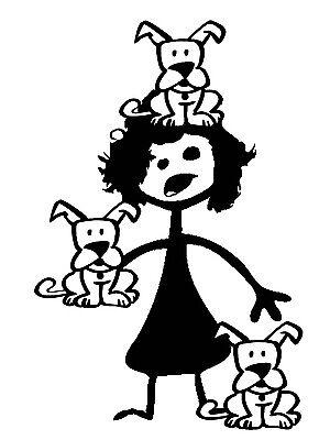 Stick figure family car vinyl decal sticker CRAZY DOG LADY animal puppy dogs - Crazy Animal