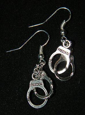 Handmade Silver Handcuffs Pierced Earrings NEW Police Law - Handcuffs Earrings