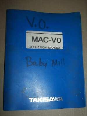 Takisawa Mac-vo Operation Manual