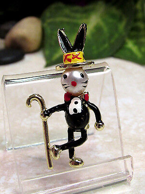 Vintage Pearl Head Bunny Rabit with Top Hat and Cane Figural Pin Brooch - - Rabit Costume