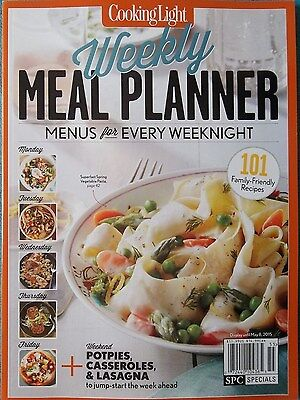 Cooking Light Magazine - Weekly Meal Planner - 2015 NEW - FREE SHIP!