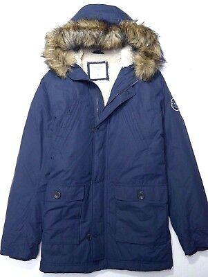 NWT Abercrombie & Fitch Men's Faux Fur Sherpa Lined Navy Parka Coat Jacket XL