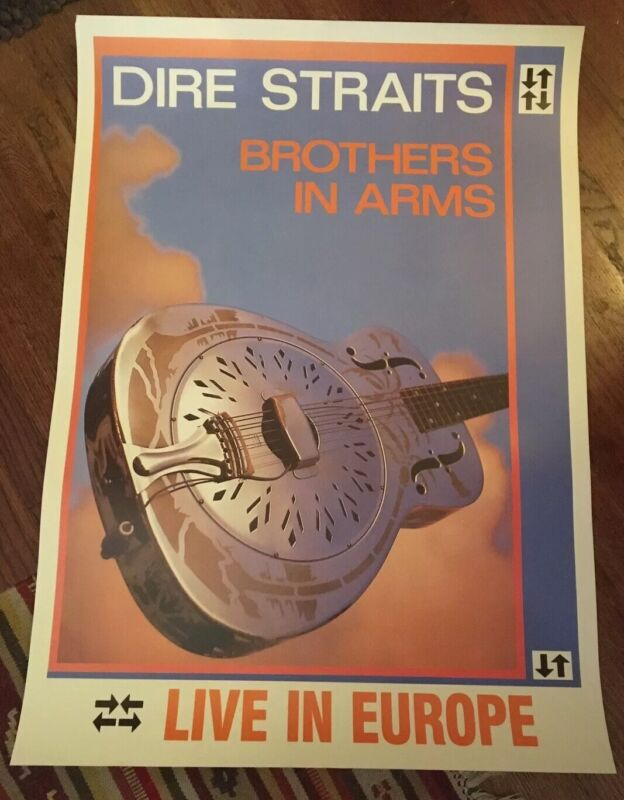 Dire Straits Poster Brothers In Arms Tour Europe Promo Original Vintage 1st