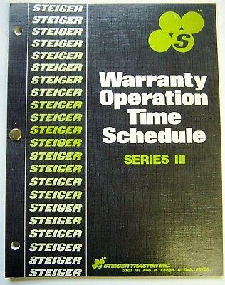 Steiger Series Iii Tractors Warranty Operation Time Schedule