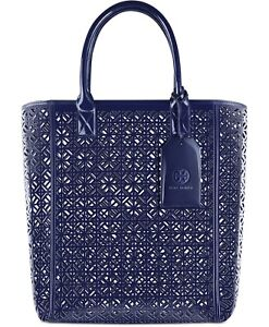 6f6cf723236 TORY BURCH dark blue indigo perforated handbag purse travel tote beach bag  NEW