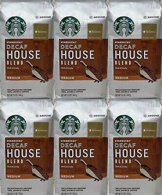 Starbucks DECAF House Blend Ground Coffee (6) 12 oz bags Medium Roast BB 05/2020