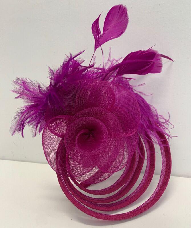 Fascinator Magenta Headband / Clip attachment NEW Vintage inspired Hat Purple