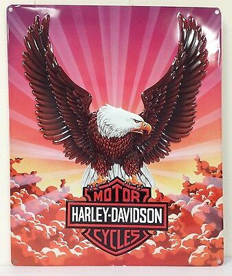 Ande Rooney HARLEY DAVIDSON EAGLE WITH CLOUDS Tin Motorcycle HD Garage Sign NEW