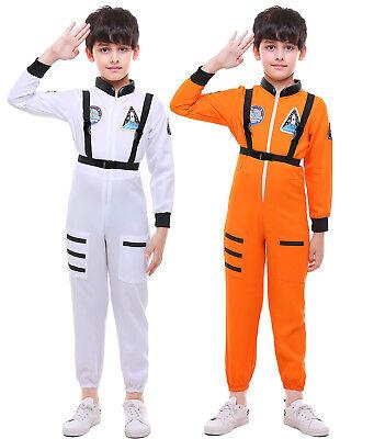 Unisex Kids Astronaut Costume Spaceman Suit Halloween Fancy Dress Jumpsuit