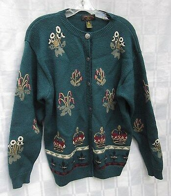 Charter Club Regal Crown Floral Embroidery Wool Sweater British Hong Kong Large